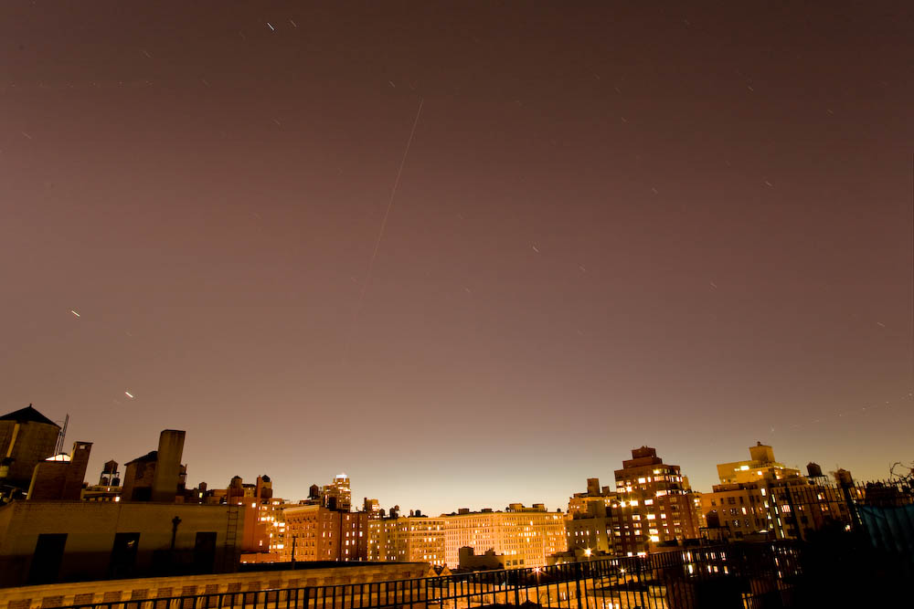 The International Space Station passes through the New York night sky, 11-21-08.