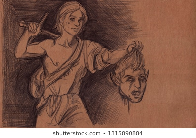 Illustration young man holding severed 260nw 1315890884